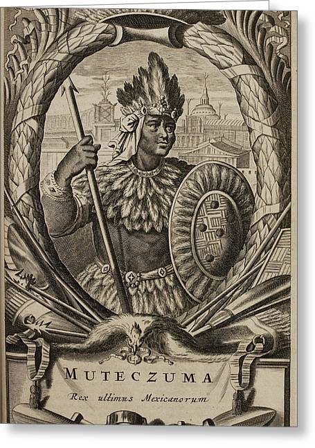 Portrait Of Montezuma II Greeting Card by British Library