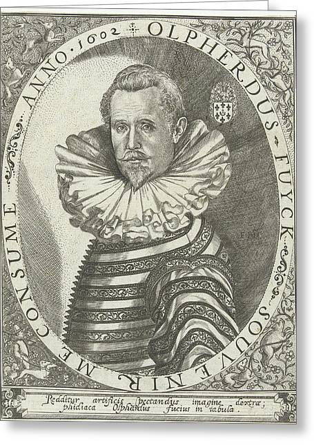 Portrait Of Olpherdus Fuyck Olfert Fuchs Greeting Card by Floris Balthasarsz. Van Berckenrode