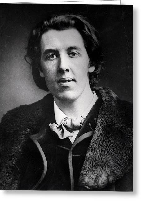 Portrait Of Oscar Wilde 1854-1900 Wearing An Overcoat With A Fur Collar Bought For His Trip Greeting Card by English Photographer