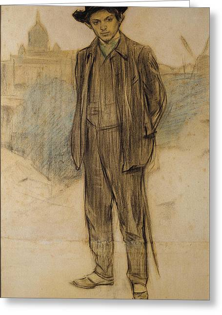 Portrait Of Pablo Picasso Greeting Card by Ramon Casas