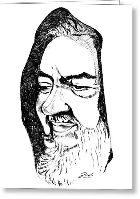 Portrait Of Padre Pio Greeting Card by Ze  Di