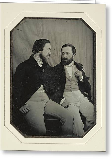 Portrait Of Paul And Hippolyte Flandrin F. Chabrol Greeting Card by Litz Collection