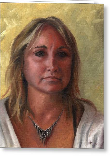 Portrait Of Paula Greeting Card by Terri  Meyer