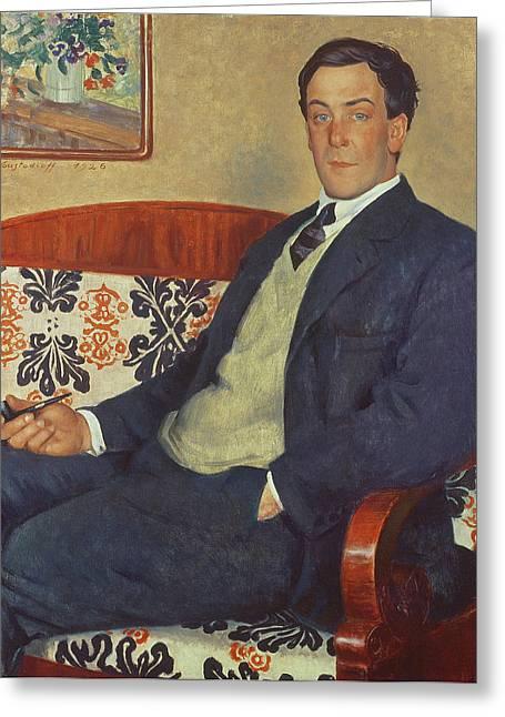 Portrait Of Peter Kapitza 1926 Greeting Card by Boris Mihajlovic Kustodiev
