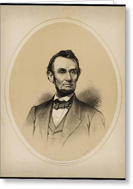 Portrait Of President Abraham Lincoln Greeting Card by Celestial Images