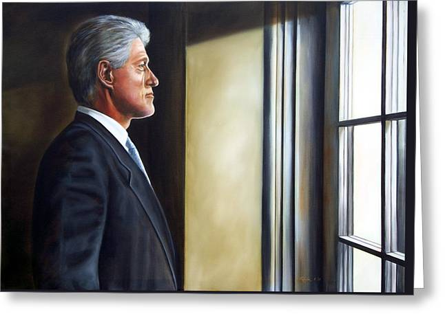 Portrait Of President William Jefferson Clinton In Profile Greeting Card by RB McGrath