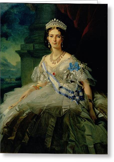 Portrait Of Princess Tatiana Alexanrovna Yusupova, 1858 Oil On Canvas Greeting Card