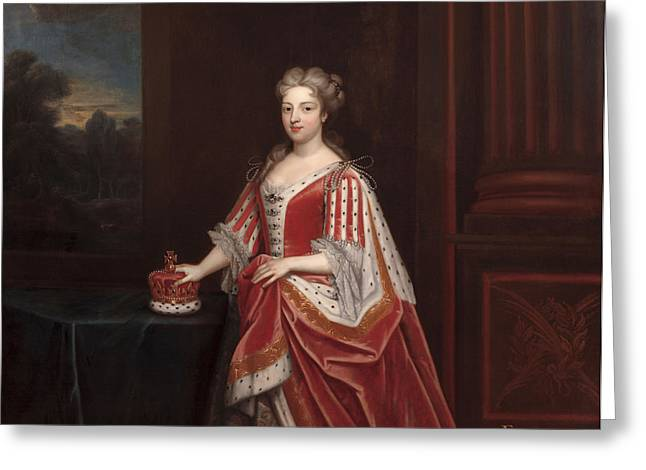 Portrait Of Queen Caroline Wilhelmina Greeting Card by Enoch Seeman
