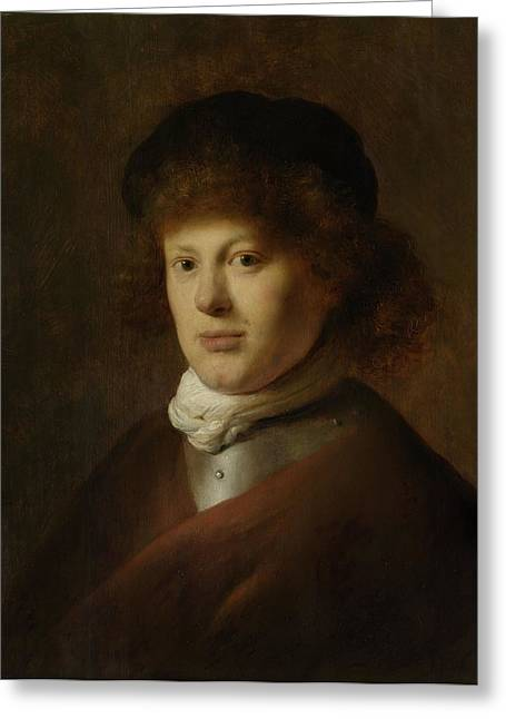 Portrait Of Rembrandt Harmensz Van Rijn, 1628 Oil On Panel Greeting Card by Jan the Elder Lievens