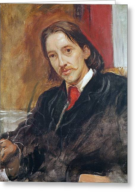 Portrait Of Robert Louis Stevenson 1850-1894 1886 Oil On Canvas Greeting Card