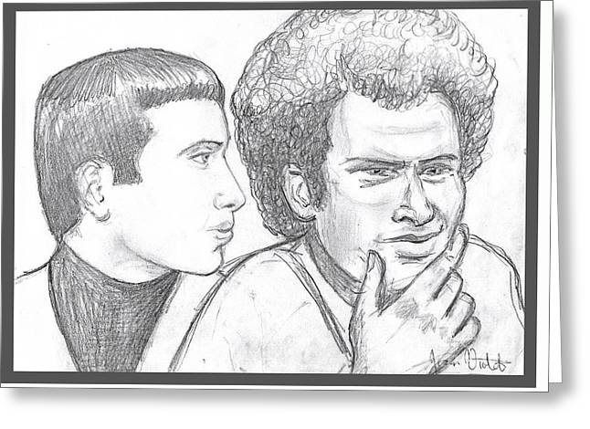 Portrait Of Simon And Garfunkel Greeting Card