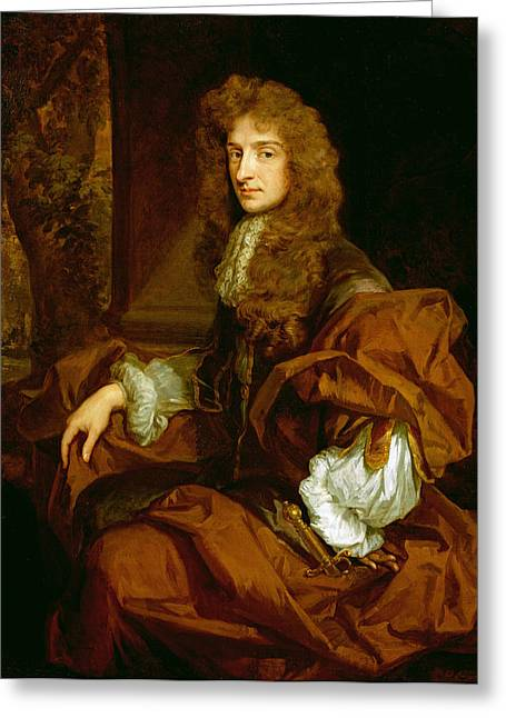 Portrait Of Sir Charles Sedley 1687 Greeting Card by Sir Godfrey Kneller