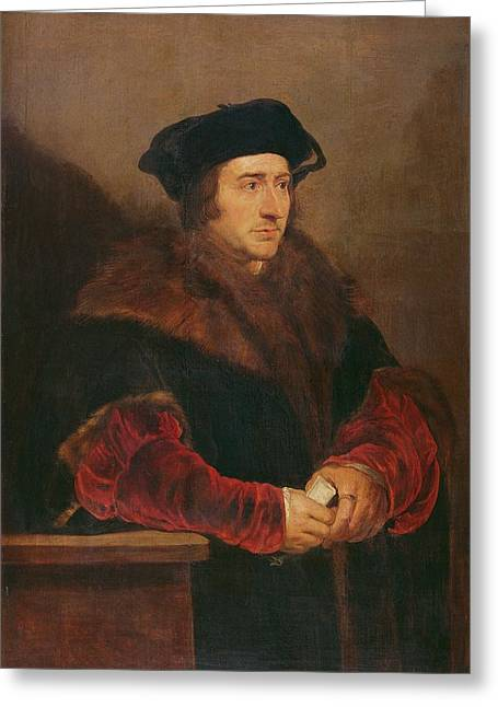 Portrait Of Sir Thomas More Oil On Canvas Greeting Card