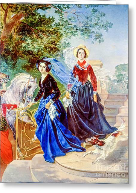 Portrait Of Sisters Shishmarev Greeting Card