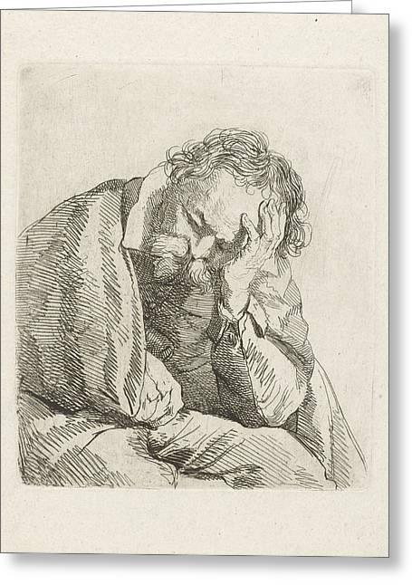 Portrait Of Sleeping Old Man, Johannes Pieter De Frey Greeting Card by Johannes Pieter De Frey And Jan Lievens