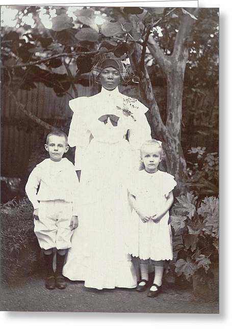 Portrait Of Surinamese Nanny With Two White Children Greeting Card