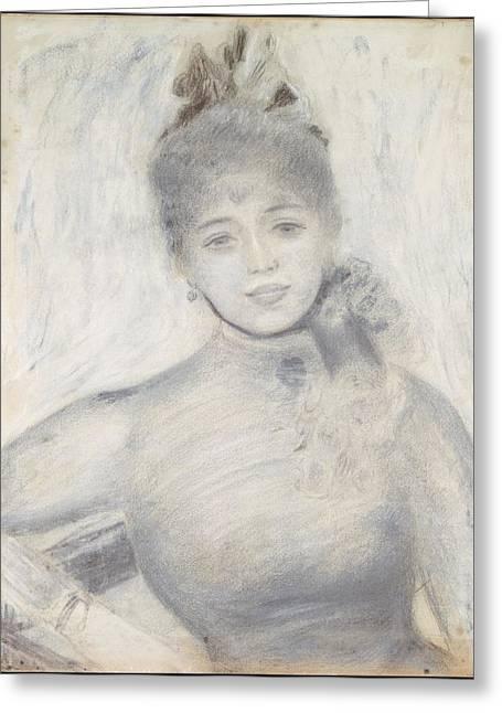 Portrait Of S�verine Greeting Card by Auguste Renoir