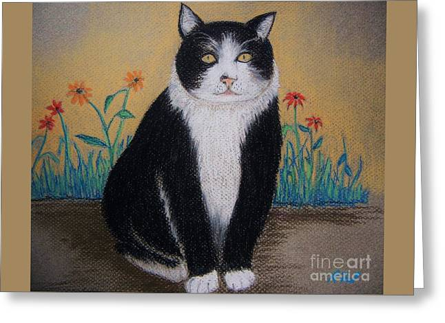 Portrait Of Teddy The Ninja Cat Greeting Card by Reb Frost