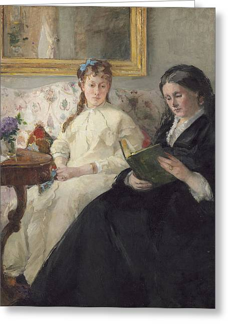 Portrait Of The Artist S Mother And Sister Greeting Card by Berthe Morisot