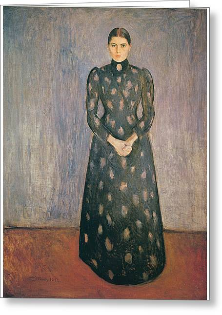Portrait Of The Artist's Sister Inger Greeting Card by Edvard Munch