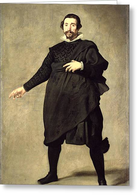 Portrait Of The Buffoon Pablo De Valladolid, C.1632 Oil On Canvas Greeting Card