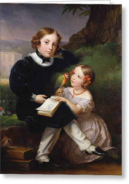 Portrait Of The Children Of Pierre-jean David Dangers Oil On Canvas Greeting Card by Marie Eleonore Godefroid