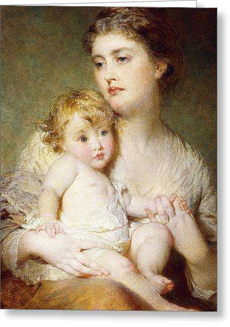 Portrait Of The Duchess Of St Albans With Her Son Greeting Card by George Elgar Hicks
