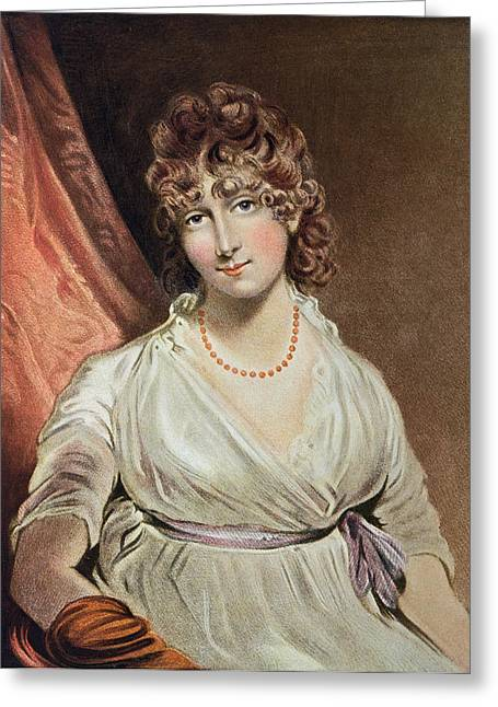 Portrait Of The Honourable Mrs. Bouverie Engraved By I.r Smith Fl.1800-30 Coloured Engraving Greeting Card by John Hoppner
