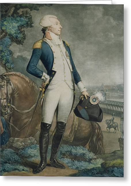 Portrait Of The Marquis De La Fayette Greeting Card by Philibert-Louis Debucourt