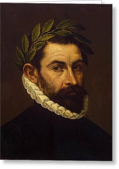 Portrait Of The Poet Alonso Ercilla Y Zuniga Greeting Card