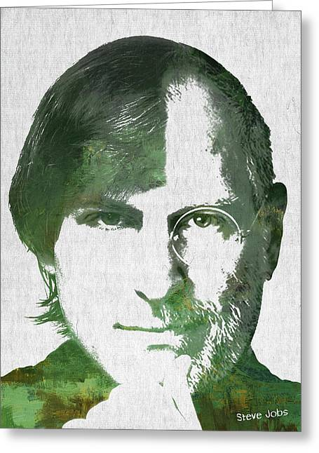 Portrait Of The Young And Old Steve Jobs  Greeting Card by Aged Pixel