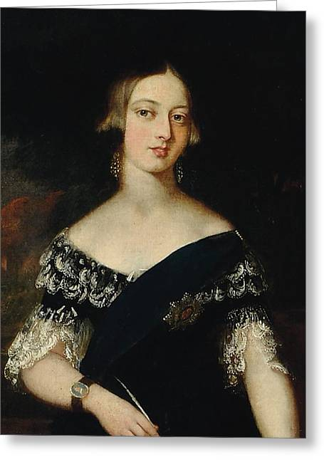 Portrait Of The Young Queen Victoria Greeting Card by English School