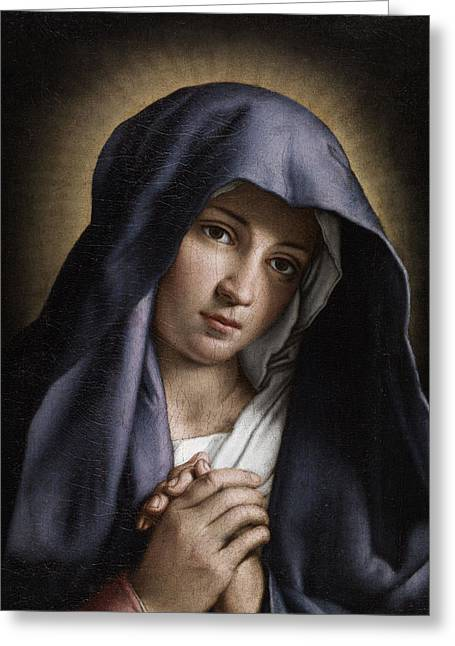 Portrait Of The Young Virgin Mary Greeting Card by Giovanni Battista Salvi da Sassoferrato