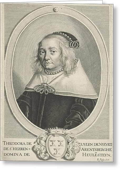 Portrait Of Theodora Van Zuylen Van Nijevelt Greeting Card by Reinier Van Persijn