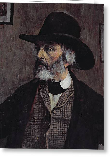 Portrait Of Thomas Carlyle 1795-1881 C.1879 Oil On Panel Greeting Card