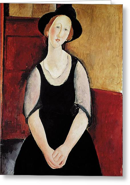 Portrait Of Thora Klinchlowstrom Greeting Card by Amedeo Modigliani
