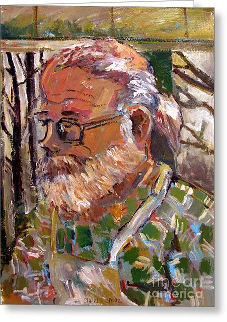 Portrait Of Tim Greeting Card by Charlie Spear
