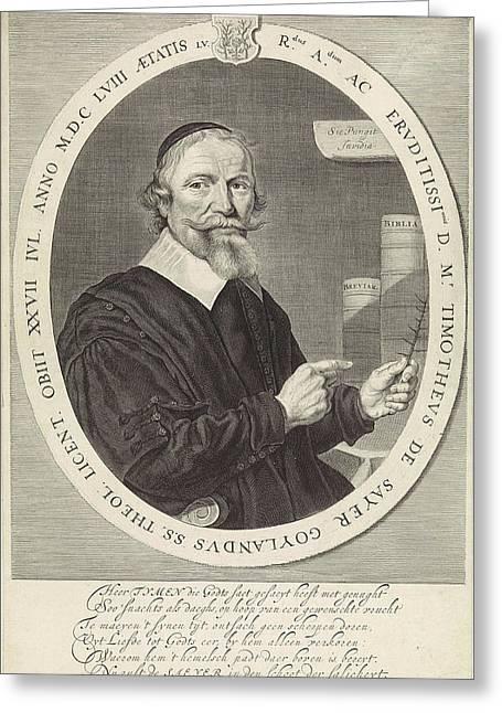 Portrait Of Timotheus De Sayer, Theodor Matham Greeting Card