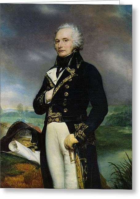Portrait Of Viscount Alexandre-francois-marie De Beauharnais 1760-94 After A Painting By J. Guerin Greeting Card by Georges Rouget