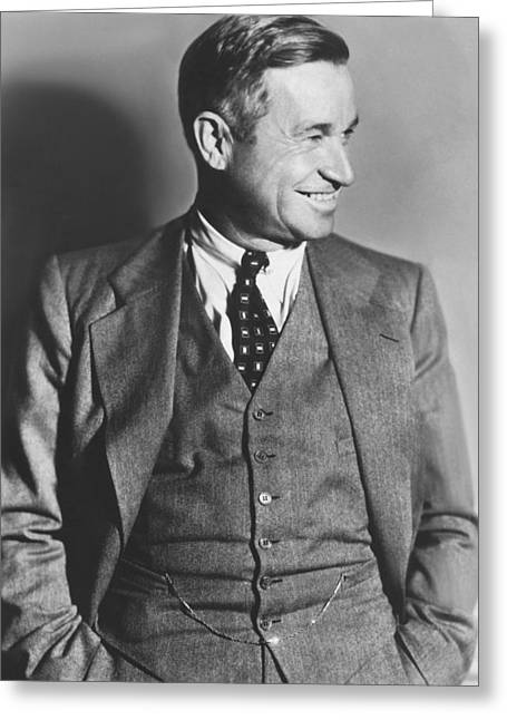 Portrait Of Will Rogers Greeting Card by Underwood Archives