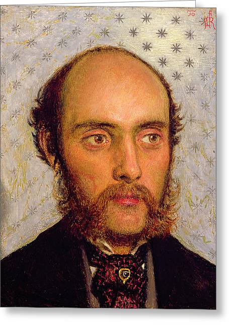 Portrait Of William Michael Rossetti 1829-1919 By Lamplight, 1856 Panel Greeting Card