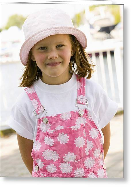 Portrait Of Young Girl Greeting Card by Jim Craigmyle