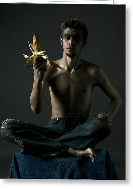 Portrait Of Young Man With Corn Cob Greeting Card by Evgeniy Lankin