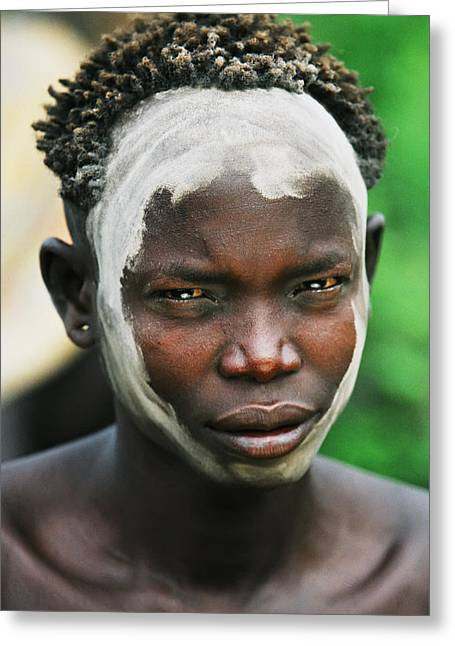 Portrait Of Young Mursi Man Wearing Greeting Card by Alberto Arzoz