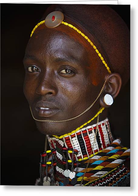 Portrait Of Young Samburu Man Greeting Card by Toby Adamson