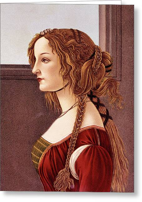 Portrait Of Young Woman By Botticelli Greeting Card