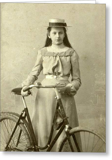 Portrait Of Young Woman In Dress With Ladies Bike Greeting Card