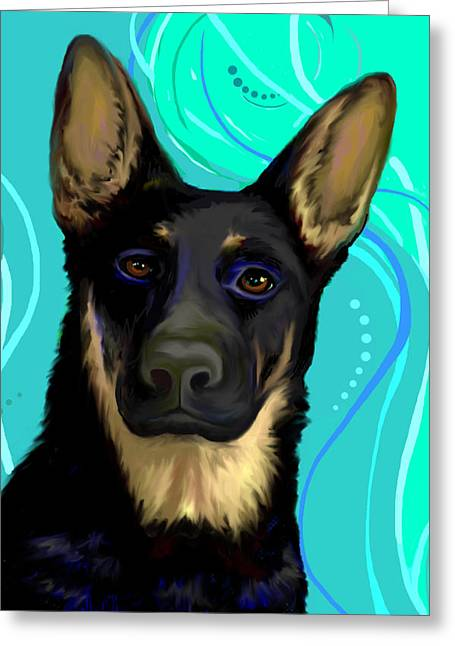 Greeting Card featuring the digital art Portrait Of A German Shepherd Dog by Karon Melillo DeVega