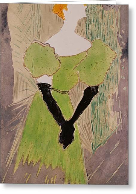 Portrait Of Yvette Guilbert Greeting Card by Henri de Toulouse-Lautrec