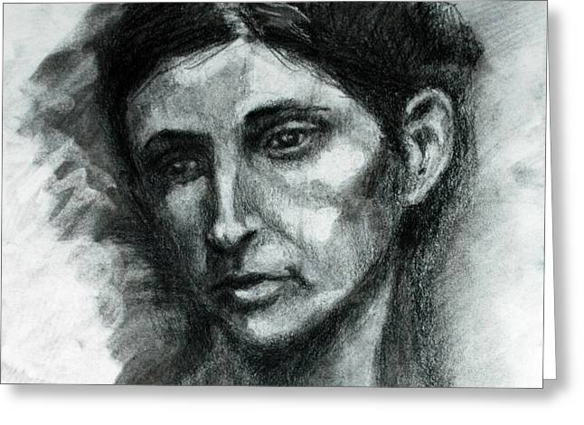 Portrait Sketch Of Woman Greeting Card by J Val